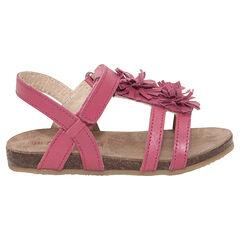 Lederen fuchsia sandalen met fantasiebloemen