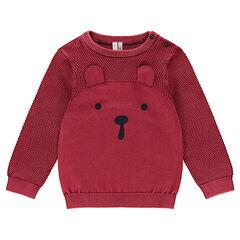 Pull en tricot surteint avec détails brodés et oreilles en relief