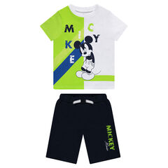 Ensemble van T-shirt met korte mouwen met Mickeyprint en bermuda