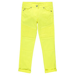 Junior - Pantalon skinny en twil uni avec surpiqûres