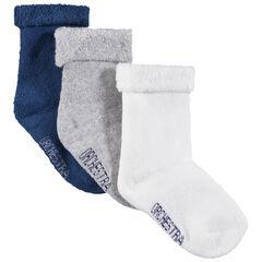 Set met 3 paar effen sokken met hals van omgekeerde bouclé