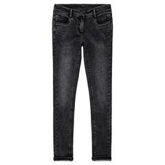 Junior - Jeans slim en molleton effet denim