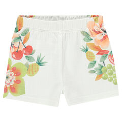 Short met wafelpiqué en met fruit- en bloemenprint