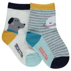 Set met 2 paar matching sokken met strepen en print met dieren