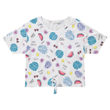 Junior - Tee-shirt manches courtes à imprimé tropical all-over et liens à nouer
