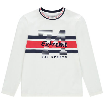 Junior - T-shirt manches longues en jersey lourd à bandes contrastées