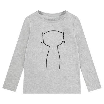 T-shirt met lange mouwen van jerseystof met kat en badges van vastgekleefde lovertjes