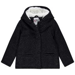 Manteau à capuche en drap de laine doublé sherpa