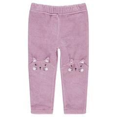 Pantalon en velours avec motif animal sur les genoux