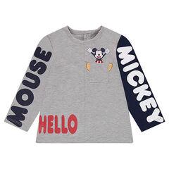 T-shirt met lange mouwen uit jerseystof met print met teksten van ©Disney's Mickey en met zakje