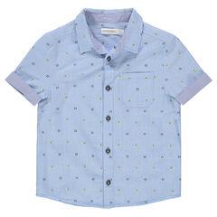 Chemise manches courtes avec motif contrasté en jacquard