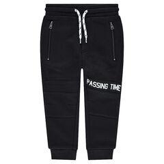 Pantalon de jogging en molleton avec inscription printée et poches zippées
