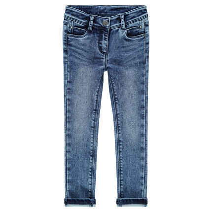 Slim-fit jeans van molton met denimeffect
