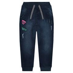 Jeans van molton met used denimeffect en badges