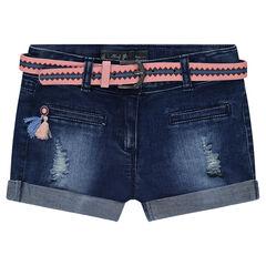 Jeansshort met used effect en afneembare riem met motieven