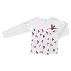 Tee-shirt manches longues volantées avec coeurs printés