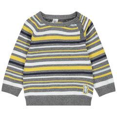 Pull en tricot à rayures jacquard et patch renard