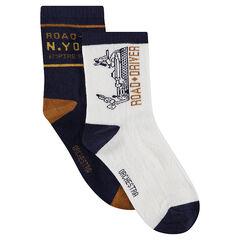 Set met 2 paar matching sokken met jacquardmotieven in het wit/marineblauw