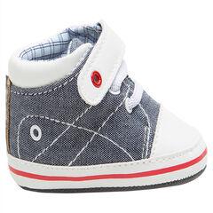 Soepele sneakers van linnen veters en met klittenbandsluiting met ruitjes