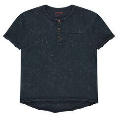 Junior - Geverfd T-shirt met korte mouwen en Tunesische kraag