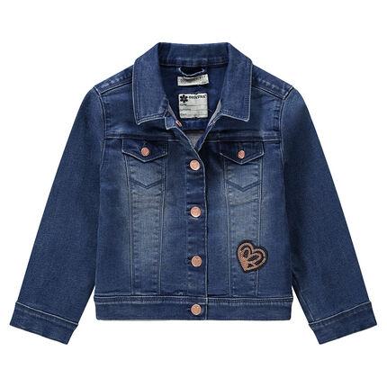 Jeansvest met used effect en zakken en hartje van lovertjes