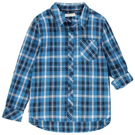 Chemise manches longues à carreaux bleus et poche