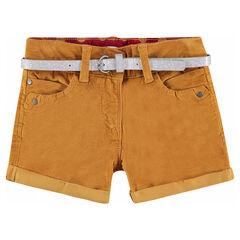 Short en velours ras avec ceinture pailletée argentée