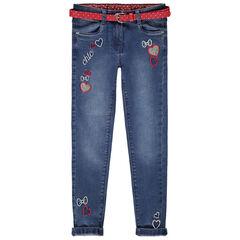 Jeans met used-effect, borduurwerk en afneembare riem met stippen