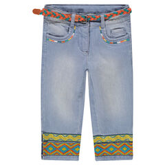 Capri van jeans met used effect en gevlochten riem