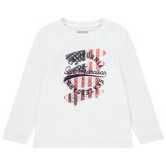 Katoenen kinder-T-shirt met lange mouwen voor jongens met decoratieve print , Orchestra