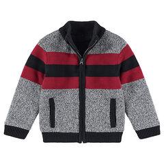 Gilet en tricot chiné avec bandes contrastées et zip