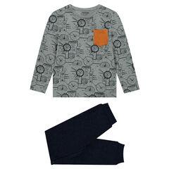 Junior - Pyjama en jersey et molleton avec horloges printées et poche contrastée