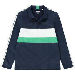 Junior - Polo met lange mouwen van jerseystof met contrasterende banden en opschriften
