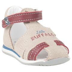 Bimateriaal sandalen met gedrukt opschrift