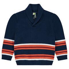 Pull en tricot avec rayures contrastées en jacquard et col châle