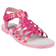 Open schoenen in fuchsia kleur paarlemoer
