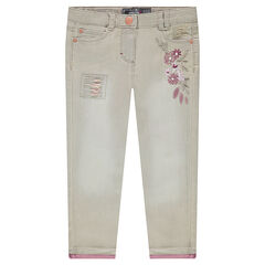 Tweekleurige 7/8-jeans model slim fit met geborduurde bloemen en slijtage