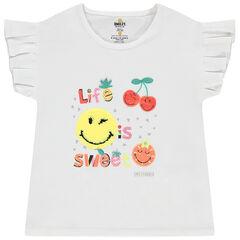 T-shirt manches courtes volantées motif Smiley en sequins