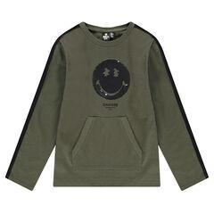 Tee-shirt manches longues en jersey lourd et ©Smiley en sequins magiques