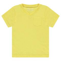 T-shirt met korte mouwen van effen slub met zak