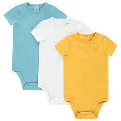Lot de 3 bodies manches courtes pour bébé garçon print logo , Orchestra