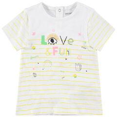 T-shirt manches courtes rayé à motifs colorés fantaisie