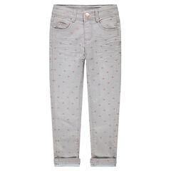 """Slim-fit jeans met crinkle effect en blinkende hartjesprint """"all-over"""""""