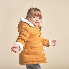 Manteau en drap de laine doublé sherpa