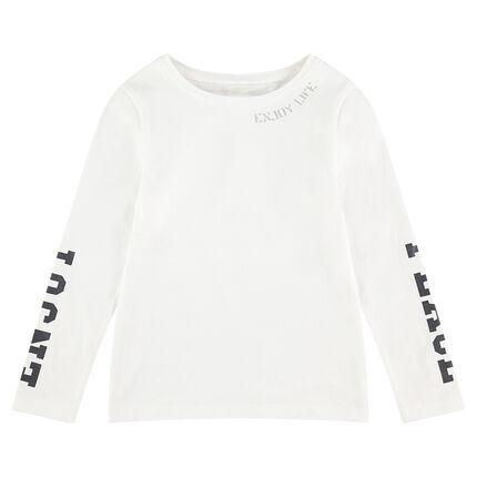 T-shirt met lange mouwen en print met opschriften
