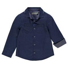 Chemise manches longues en dobby avec 2 poches plaquées