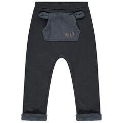 Pantalon de jogging contrecollé sherpa à poche kangourou