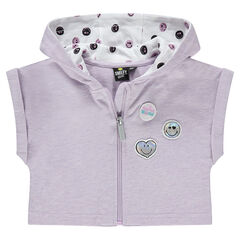 Korte vest uit molton met ©Smiley badges en print