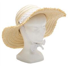 Chapeau de paille avec galon en dentelle