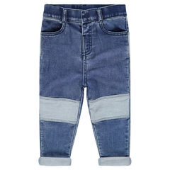 Jeans en denim like effet used avec ourson patché au dos